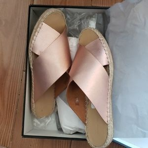Brand new Rose gold Leather espadrilles